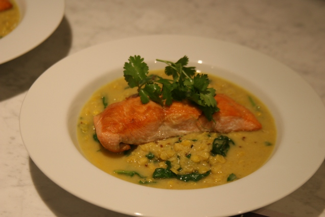 Second night was lentil-crusted salmon on spinach dal.