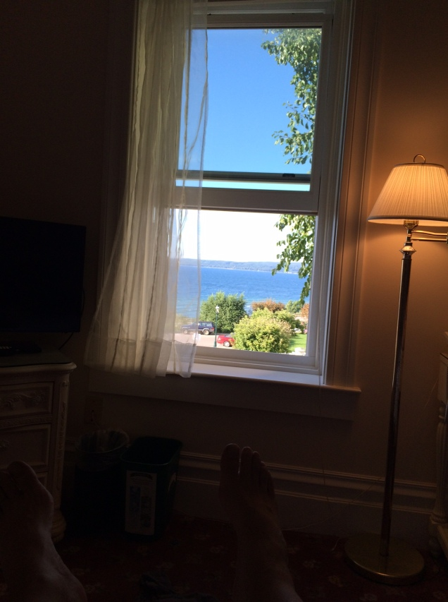 The lovely view from my hotel window in Petoskey, MI. Even lovelier was the breeze that came in off the lake. Bliss.