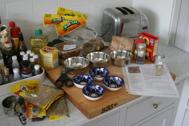 A good mole has at least 20 different ingredients in it. I think the recipe I have has about 25. Finding all of them required a trip to a Hispanic market in Silver Spring.