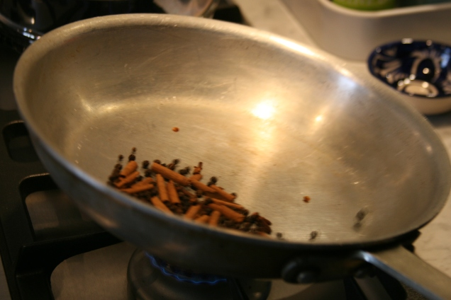 Peppercorn, clove, and cinnamon stick also get dry toasted.
