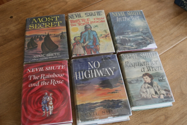 Although the shop seems like nothing ever leaves and nothing new ever comes in, the presence of these six Shute first editions in really good shape disprove that notion. They sure weren't there four years ago. And did I mention that all fiction was 50% off?